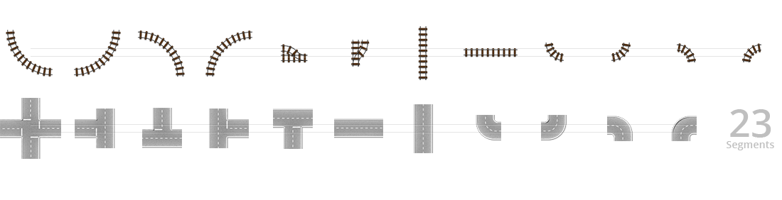 rail and road segments for the top layer designer