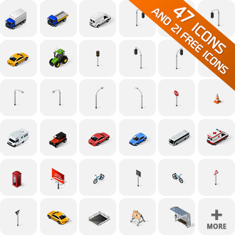 isometric_icons_cars_traffic