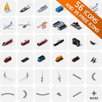 isometric icons trains ships airplane