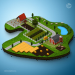 3d_map_farm_tractor_fields_cows_sheeps