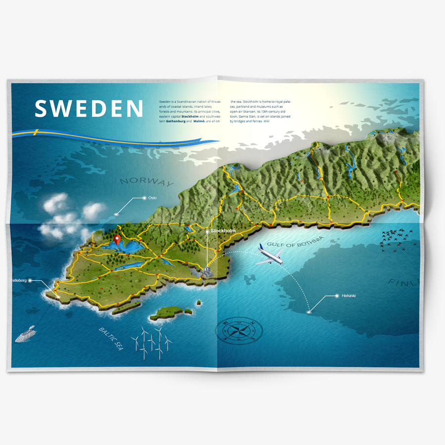 infographic 3D map illustration of sweden