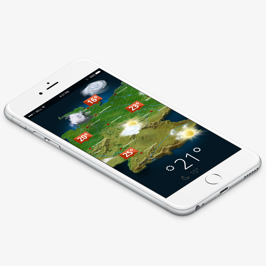 mobile app with 3D weather map germany