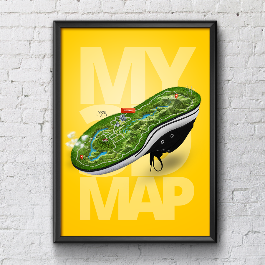 Art poster - Runner Map - 3D Map - Shoe