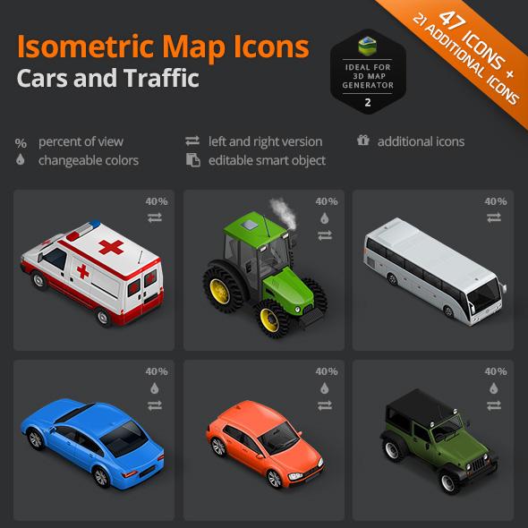 download cars traffic icon set
