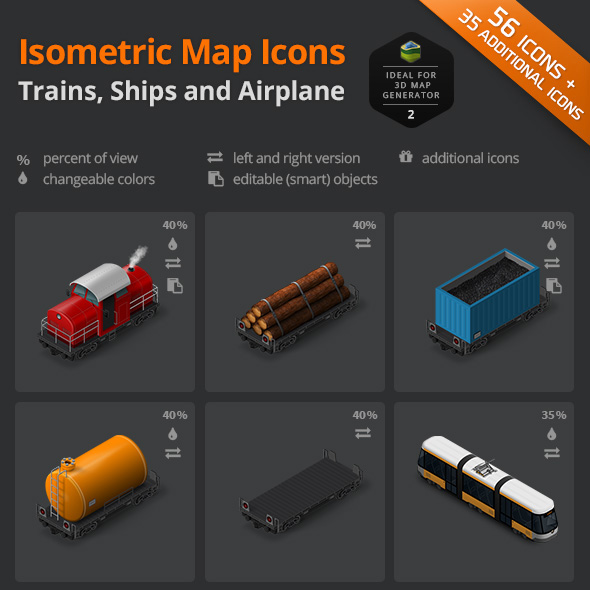 download trains ships airplain icon set
