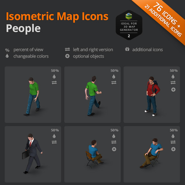 download people icon set