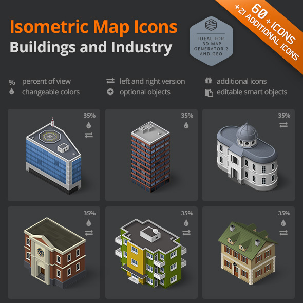 download building and industry icon set